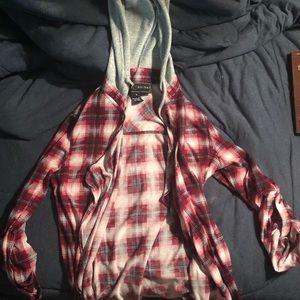 Tops - Half sleeve hooded jacket, Flannel pattern